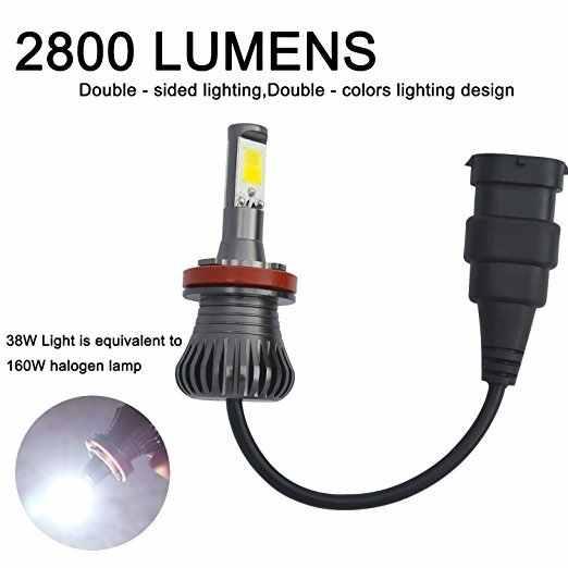 2X Car Bulb Light Lamps LED 80W H8 H9 H11 9005 HB3 9006 HB4 H27 880 881 Fog Driving White Blue Golden Dual Color 12V
