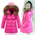 2016 Girls Thick Warm Winter Down Coat Kids Long Section Fur Collar Jacket Children Fashion Hooded Outwear With Pocket 3-13Y