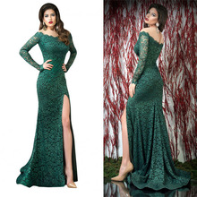 купить dark green formal dress illusion long sleeves Lace evening dress high leg slit по цене 7796.2 рублей