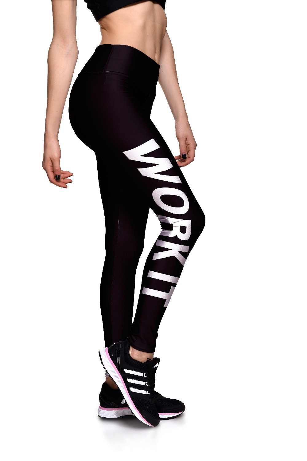 New Design 2 Patterns English Letter Printing Women Plus Size Running Black Pants Sport Grey Yoga Trousers High Waist