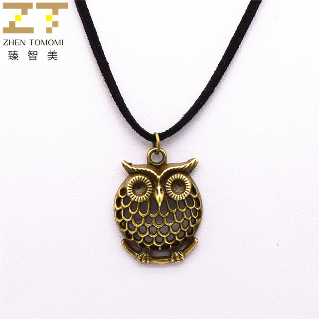 New fashion pure black velvet leather retro owl pendants necklace new fashion pure black velvet leather retro owl pendants necklace bijoux maxi statement long necklace for aloadofball Image collections