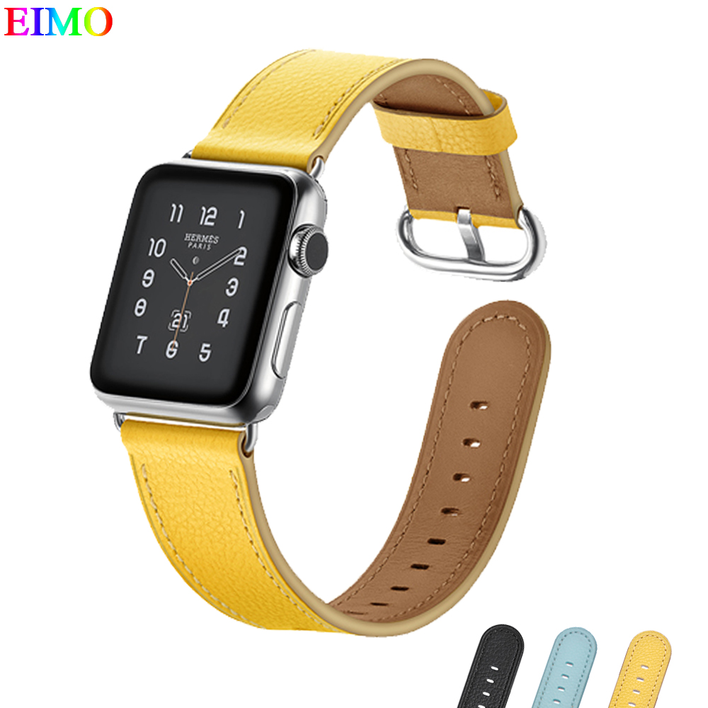 EIMO Genuine Leather Strap for apple watch 4 Band 44mm 40mm iwatch 4 3 2 1 42mm 38mm wrist bracelet belt metal classic buckle все цены