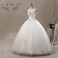 3D Ren Wedding Gown Bóng Pha Lê Đính Cườm Sweetheart Đường Viền Cổ Pha Lê Sash Debutante Dress Vestidos de Noiva Hình Ảnh Thực T
