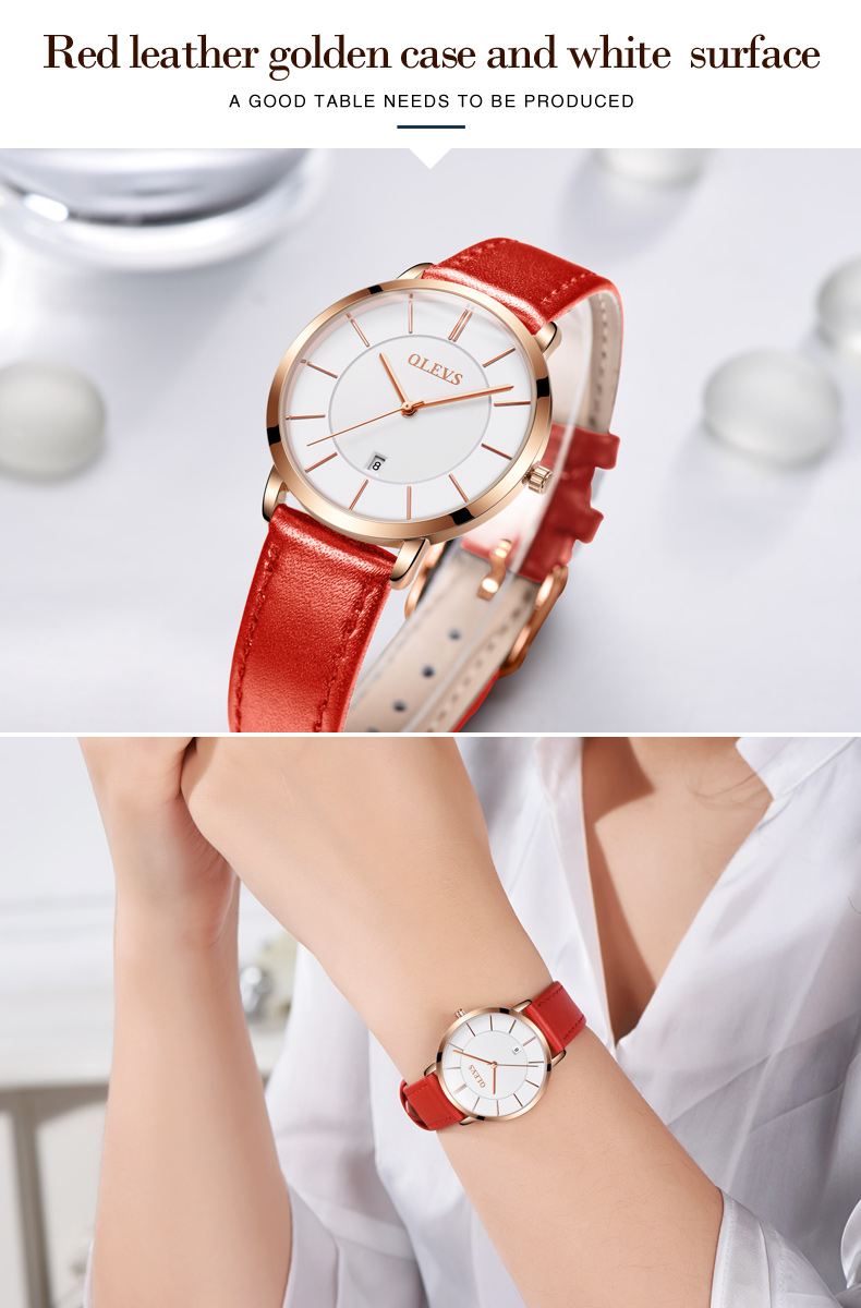 Men luxury brand quartz watches leather strap minimalist ultra-thin waterproof watch fashion wrist watch with high quality 19