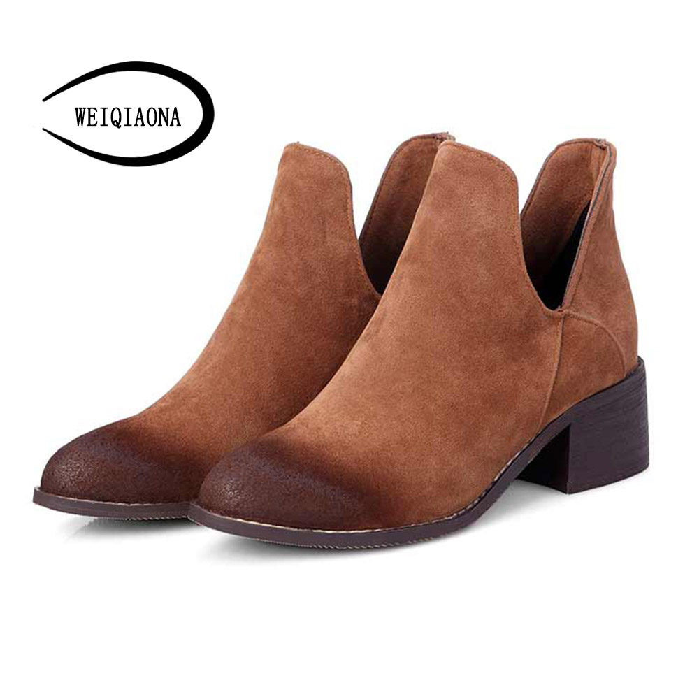 Spring Autumn Ankle Boots For Women low Heel Womens Ankle Boot Fashion Short Martin boot winter Shoes Winter boots plush new autumn winter fashion nubuck leather women boots zip ankle boots for women short plush martin shoes ladies medium heel boots