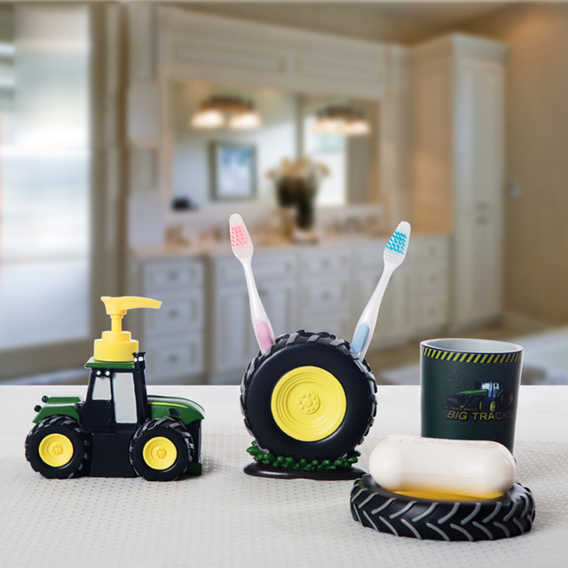 Kid Cartoon Bathroom Sets Accessories Cute Tractor Bathroom Accessory Set  Resin Wash Cup Toothbrush Holder 4