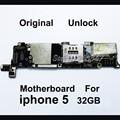 Desbloqueado originais 32 gb telefone mainboard para iphone 5 5g, todo Concluído versão UE Placa Lógica Motherboard Com Fichas Completas