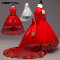 2016 New White Red Lace Tulle Flower Girl Dress Princess Pearl Ball Gown Party Wedding Girls