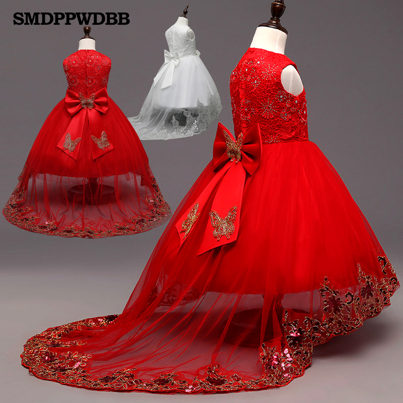 2017 New White Red Lace Tulle Flower Girl Dress Princess Pearl Ball Gown Party Wedding Girls Dresses For 2-12 Y Evening Gowns