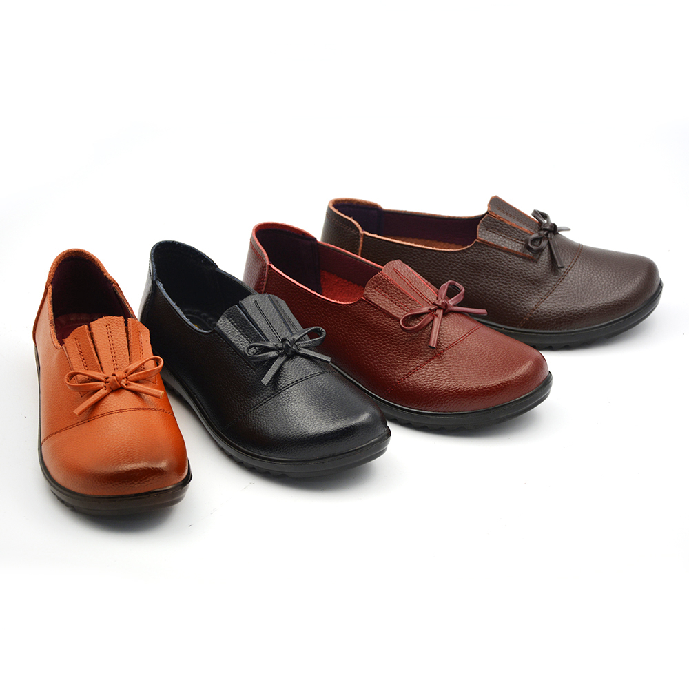 cow split leather casual flats