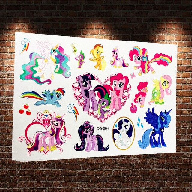 3D Pretty My Little Pony Flash Tattoo Sticker Kids Fake Tatoo Cartoon ACG084 Body Arm Waterproof Flash Tattoo 3D Paste Horse