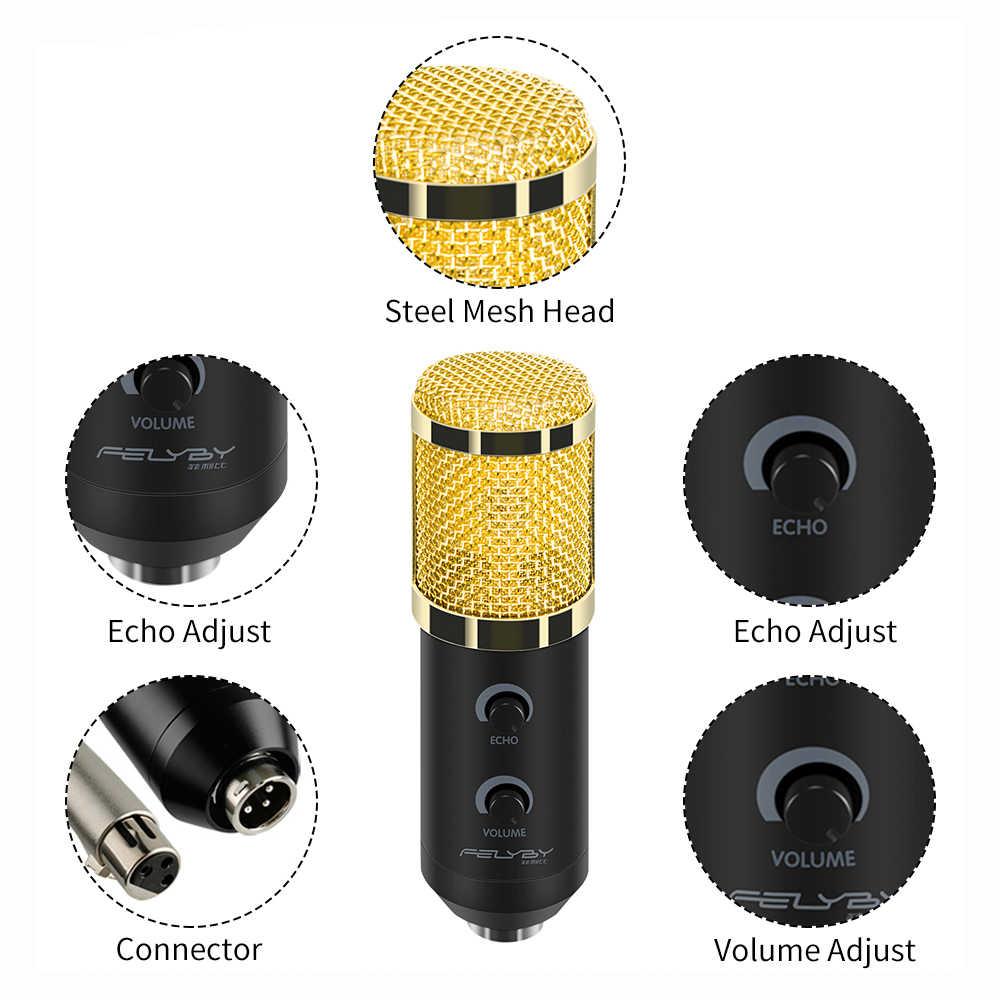 FELYBY bm 800 обновлен bm 900 Mikrofon набор Professional караоке Studio USB конденсаторный микрофон для компьютера/ноутбука/ПК записывающий