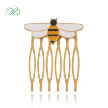 RJ 2018 New Miraculous Ladybug Queen Bee Hairwear Gold Hair Comb For Girls Women Anime Enamel Bee Hair Brooches Pins Jewelry(China)