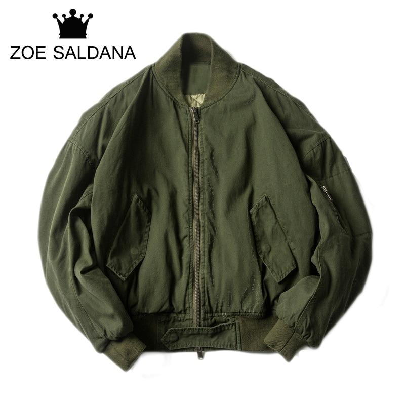 Zoe Saldana 2017 Winter New Military Bomber Jacket Men Fashion Thickening Embroidery Letter Slim Fit Coats Plus Size fashion embroidery bomber jacket in black