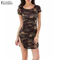 ZANZEA Women 2016 Summer Camouflage Bodycon Printed Short Sleeve Long Tops Sexy Ladies Causal Mini Dress