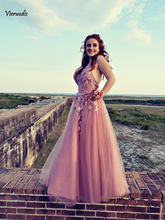 Colorful Charming Sexy Sleeveless Tulle A Line Long Prom Dresses 2019 Halter Lace Up Appliques Floor Length Dress
