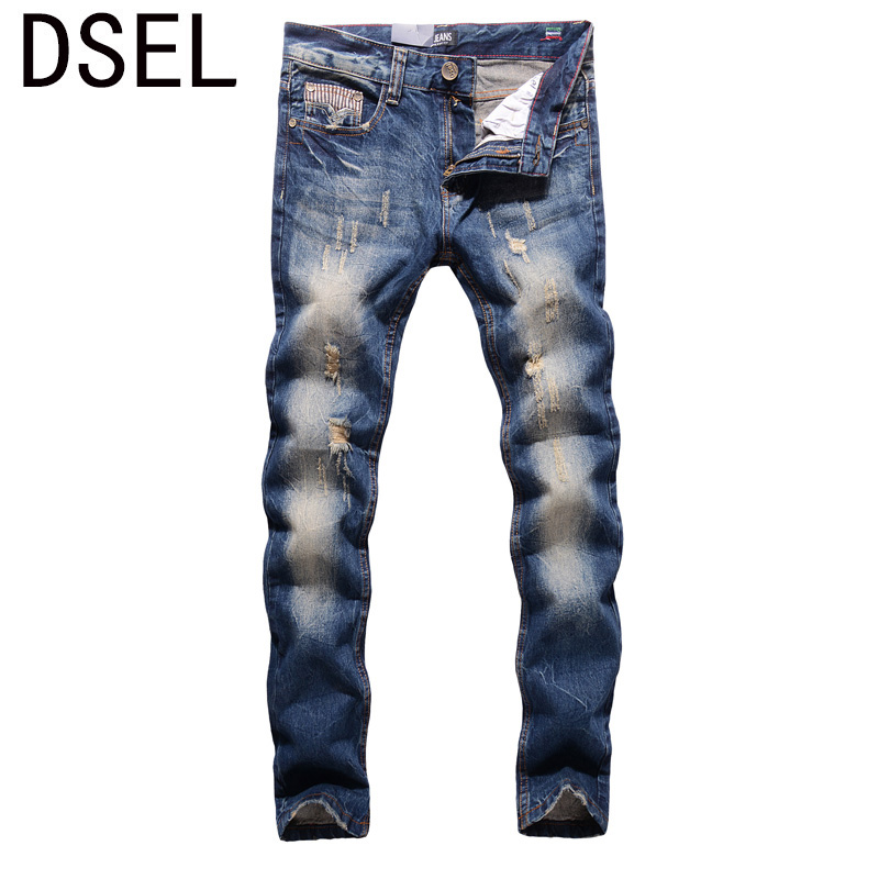 2017 New Fashion Men Jeans Dsel Brand Straight Fit Distressed Ripped Jeans For Men Designer Washed