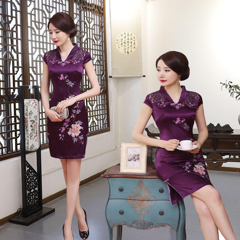 Élégant broderie fleur Mini Qipao 2019 été dentelle Sexy Cheongsam violet Vintage faible fendu chinois robe surdimensionnée S-6XL