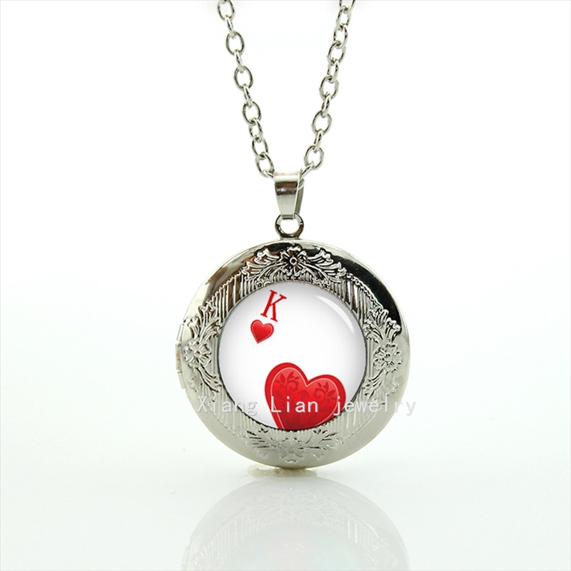2017 Limited Maxi Necklace Collier Collares Cartoon Photo Poker Cards Gambit Hearts Playing Personalized K Locket Necklace T772
