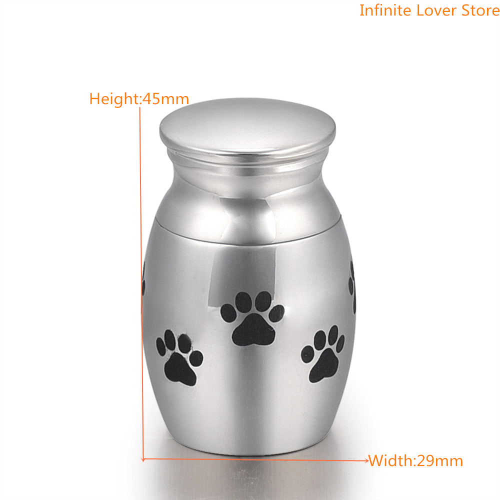 KLH0019 Stainless Steel Pet Memorial Dog Cat Mini Pet Cremation Urn Puppy Paw Print (Small Dog Urn)-Mini Pet Urn dog print keyhole back blouse