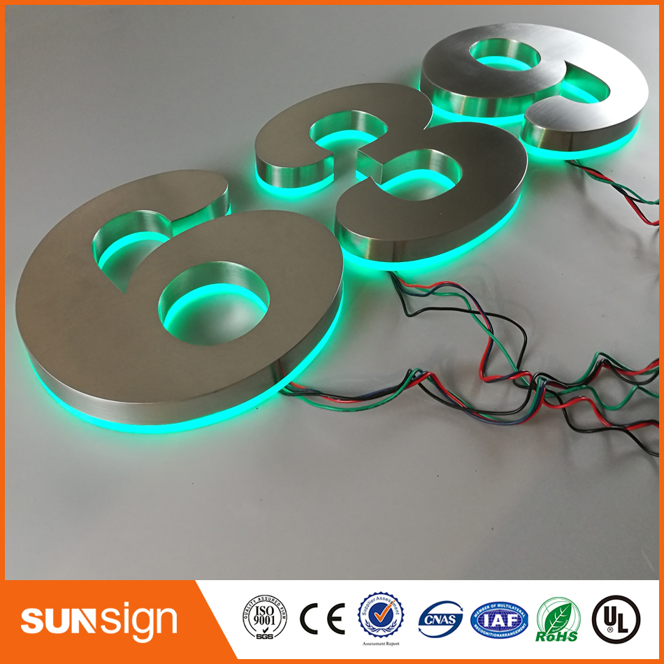 Custom Stainless Steel Shell Acrylic & Apartment LED Numbers And Company Name Size H200MM Green Led