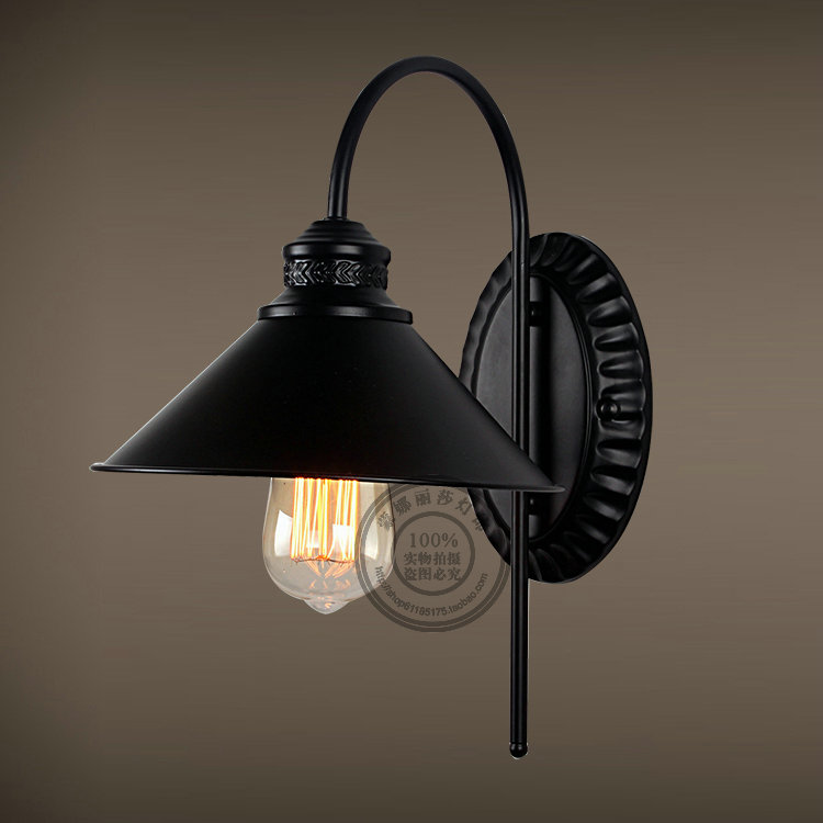 Vintage American Iron Bar Cafe Bar bedroom lamp wall lamp wall lamp lamp creative personality GY108 rh style popular in europe and the creative mall stores chain cafe cafe booth bronzing wrought iron wall lamp