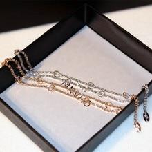 The New Korean version Europe fashion trend Elegant charm high quality low price shining Loop temperament Golden Women bracelet