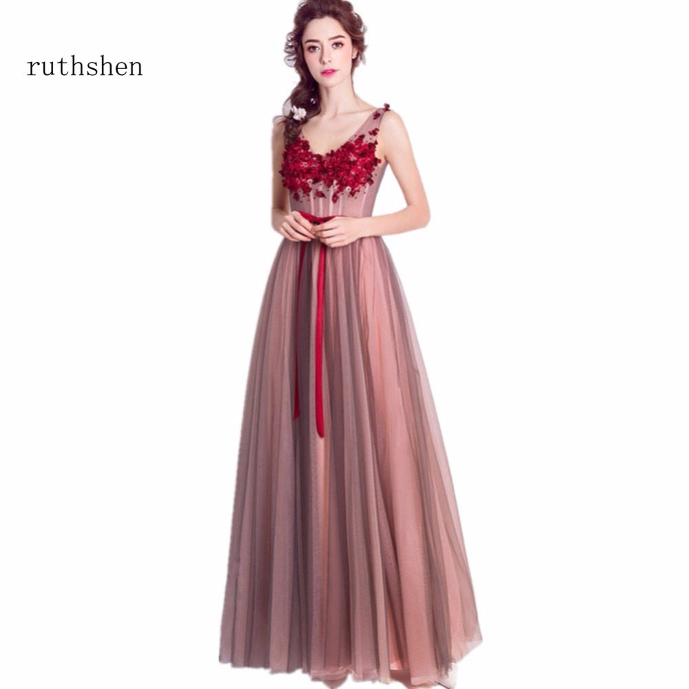 ruthshen Sexy   Prom     Dresses   2018 V-Neck Lace Appliques Beaded Cotrast Color Formal Evening Gowns For Women Special Occasion