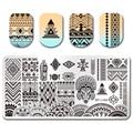 NACIDO PRETTY 12*6 cm Rectángulo Nail Art Stamping Plate Étnica Diseño Manicura de Uñas Plantilla BP-L048