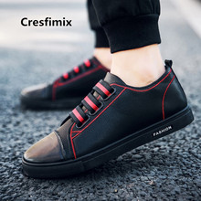 Cresfimix male fashion comfortable all black sheos man's spring & autumn plus size pu leather shoes men cool shoes zapatos a2728