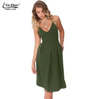 New Women Summer Dress 2015 Casual And Sexy Women Clothing Solid Spaghetti Strap V Neck Backless