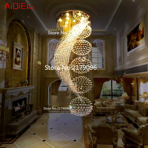 Image 2 - ארוך כפול מדרגות מודרני נברשת מנורת LED קריסטל llights אופנתי מלון פרויקט וילה אולם תאורת השעיה חוט