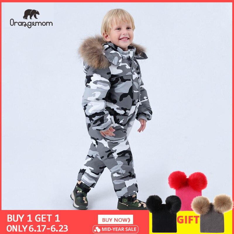 brand Orangemom official 2019 Children's Clothing ,winter 90%   down   jacket for girls boys snow wear ,baby kids   coats   jumpsuit