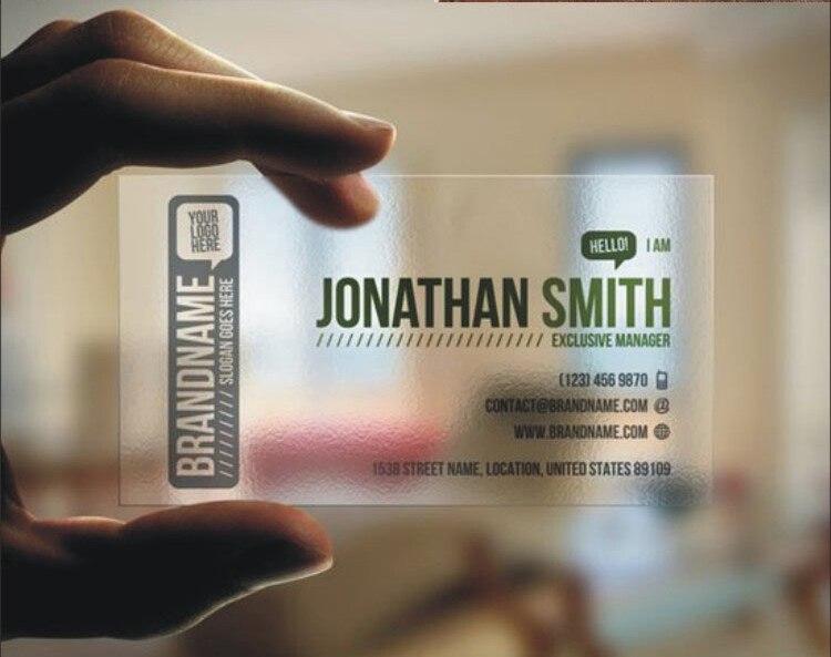 Transparent Visitenkarte Gedruckt Klare Transluzente