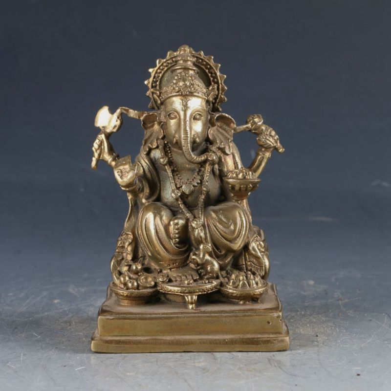 Chiński mosiądz buddyzm tybetański Handwork rzeźbione figura Ganeshy w Posągi i rzeźby od Dom i ogród na  Grupa 1