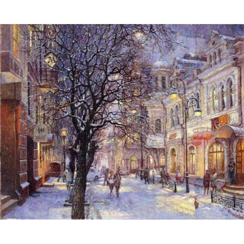 Bezramowe Snow City Landscape Diy Digital Painting By Numbers Unikalny prezent Modern Wall Art Picture For Akryl Farba Wall Artwork