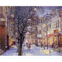 Frameless Snow City Landscape Diy Digital Painting By Numbers Unique Gift Modern Wall Art Picture For Acrylic Paint Wall Artwork