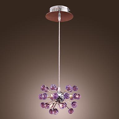 K9 Crystal LED Pendant Lamp with 6 Lights Fixtures in Purple Handing Light Lustres e Pendentes Lamparas Colgantes led luxury led amber k9 crystal pendant lights lamps fixtures with 3 ringsfree shipping110 240v