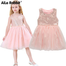 Kids Dresses For Girls Aile Rabbit Girls Sleeveless Dress Brand Sequins Vest Princess Wedding Party Kids Clothes 3-7 Summer цены онлайн