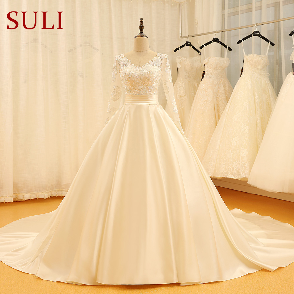 SL 523 Backless V Neck Illusion Full Sleeve Satin Lace Wedding Dress 2018-in Wedding Dresses from Weddings & Events    1
