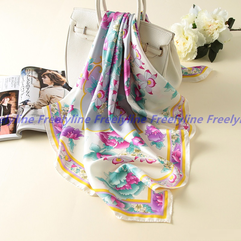 Image 3 - Floral Print 100% Silk Twill Scarf Bandana Hijab Women Fashion Square Silk Scarves Shawl Wraps Top Grade Hand Rolled Edge 90cm-in Women's Scarves from Apparel Accessories