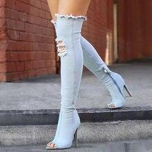 Женская модная обувь 2017 гладиаторы на Ботинки открытый носок выше колена стрейч Прохладный Ботинки ковбойские ботинки Женские летние туфли синий