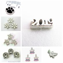 10pcs 2019 charms snowflake horse shoes Footprint The dove of peace floating locket memory charms for floating memory locket(China)