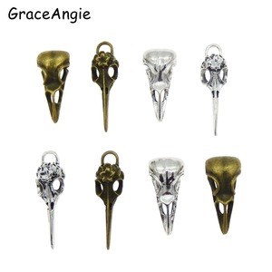 8pcs Steampunk Raven Bird Skull Pendants Charms Necklace Jewelry Findings 32*14mm 40*11mm Candy Car Pendants Gift(China)