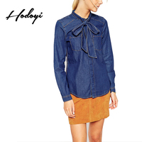Hodoyi Brand Women Blue Casual Shirts Bowknot Long Sleeve Buttons Female Elegant Blouses Lady BF Style