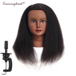 """Traininghead 14 """"настоящие волосы макияж Манекен головы Профессиональный парикмахерских практика обучения голова салон Прическа парикмахеров"""