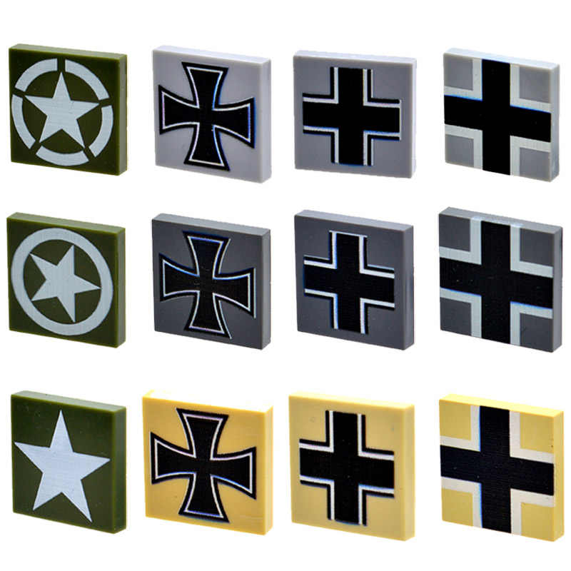 10pcs/lot MOC 2*2 US German Army Medal Military Logo Printed tile Bricks Parts Building Blocks Gifts Toys for Childrens
