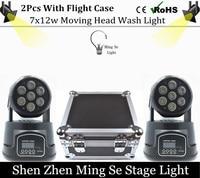 2Pcs Lots 7x12W RGBW 4in1 Quad Led Wash Moving Head Light Wtih Flight Case LED Stage