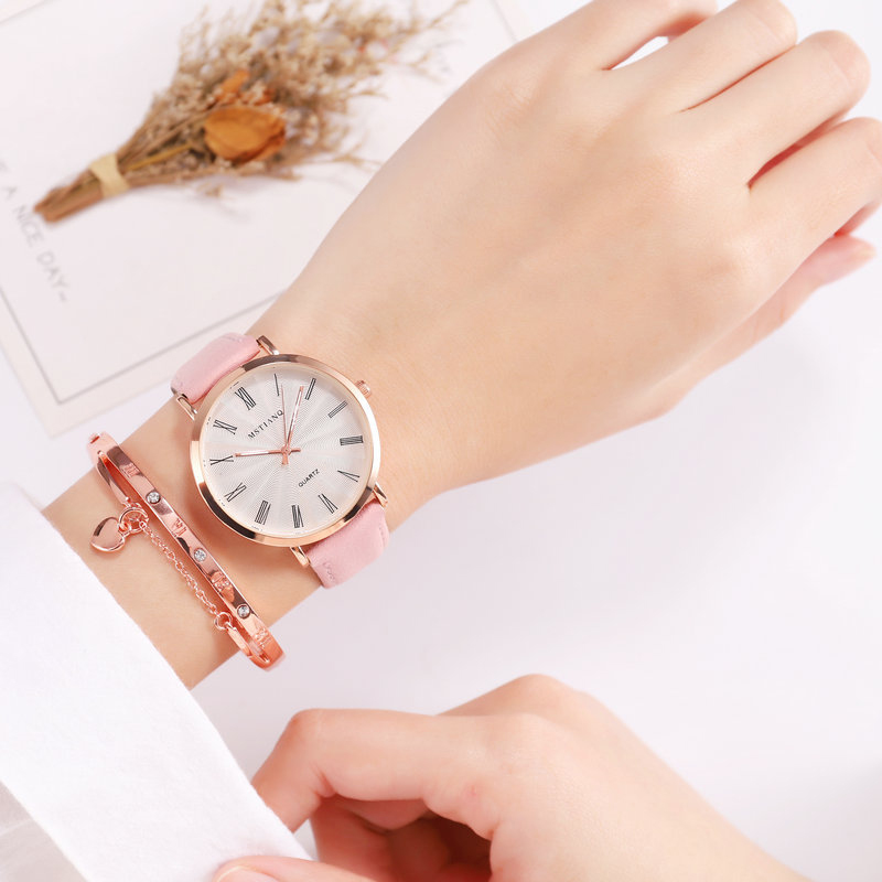 Fancy Women's Watch Black Pink Quartz Lather Wristwatch Clock On Hand Relogio Femino Gifts For Women Discount Sale New