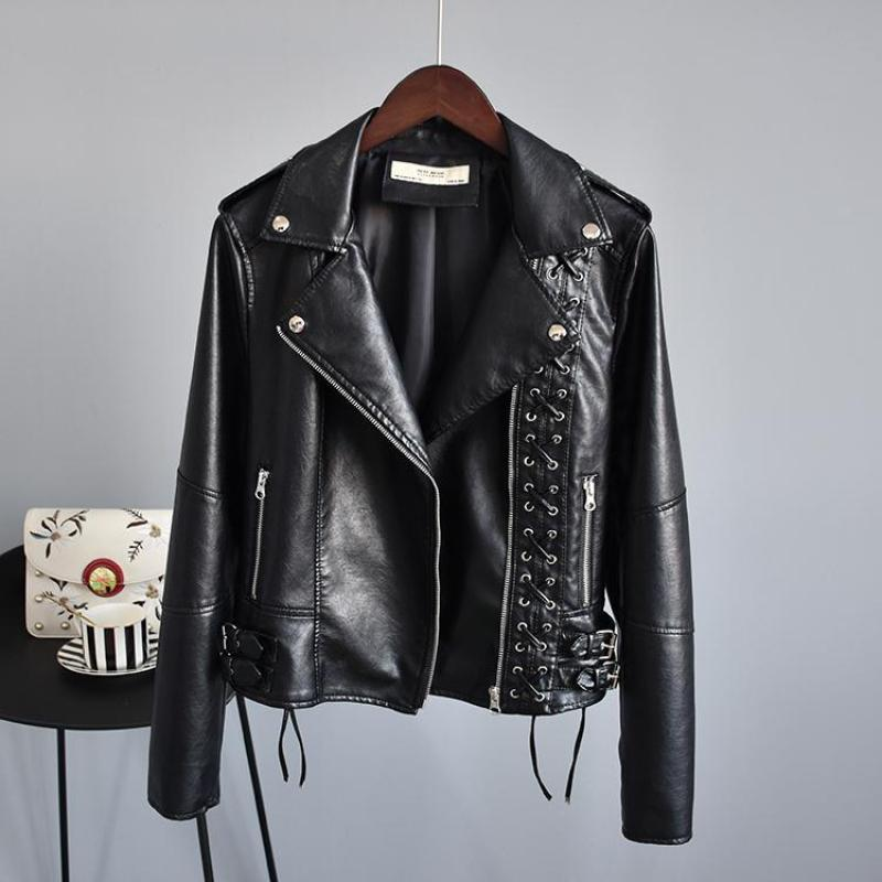 Women Slim Biker   Leather   Jacket 2019 New Autumn Long Sleeved Black Short Pu Coats Ladies Braided Rope Motorcycle Jackets Clothes